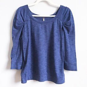 FREE PEOPLE Blue Puffed Shoulder Knit Top | M